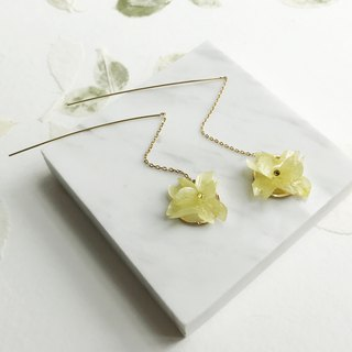 Real flower Yellow Hydrangea Earrings 18KGP
