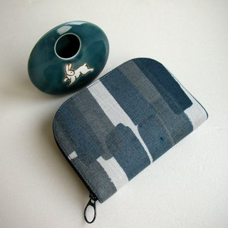 "Ito Shangmei ""Ink Blue Strip Brush"" Linen - Short Clip / Wallet / Coin Purse / Gift"