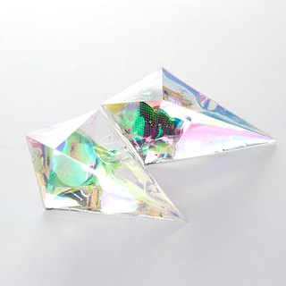 Acute angle pyramid earrings (rainbow)