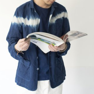 Fete original design tooling shirt coat blue dye indigo series