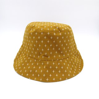 /Handmade bucket hat/ Mustard cross pattern