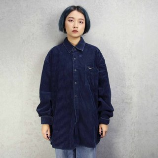 Tsubasa.Y Antique House A12 Navy Blue Corduroy Shirt, Corduroy Shirt