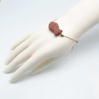 Pink Fish Lava Diffuser Bracelet Gold plated Copper Chain with Extend Chain
