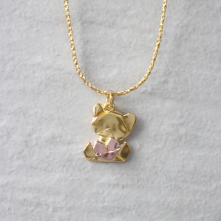 Bear My Love - 925 Silver Origami Bear My Love Necklace (Golden/Gloss)