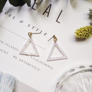 La Don - Stone Triangle Geometry - White Ear Pins