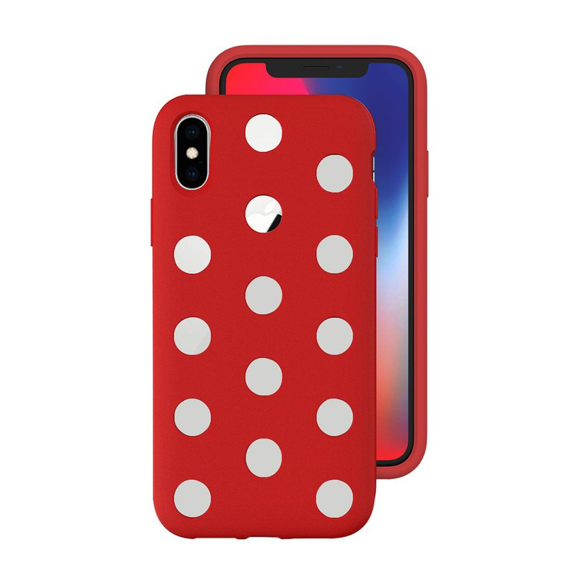 Japan AndMesh-iPhone Xs Dot Double Layer Anti-collision Cover - Red (4571384959407
