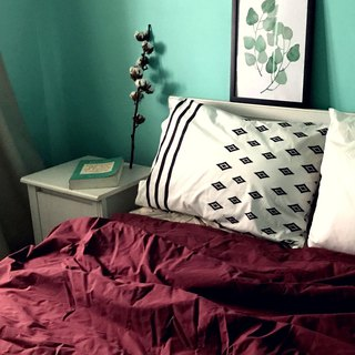 Single _Recall 100% Organic Cotton GOTS / OCS Certified Printed Pillow Case & Wine Red Single Quilt Bed Set