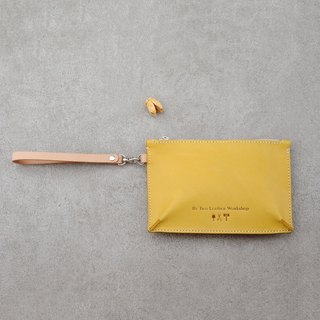 Be Two ∣ Vegetable tanned leather lemon yellow clutch / evening bag / handbag / hand sewing (limited color)