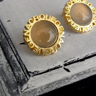 Circle stone earrings / brass