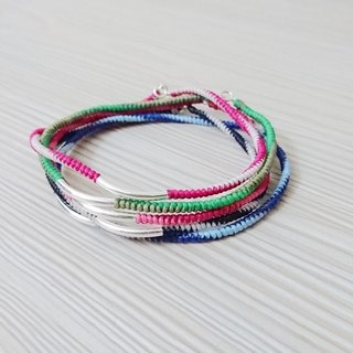 925 sterling silver wax rope anklet lucky rope anklet passenger self-mixing two-color spot + custom models spring and summer
