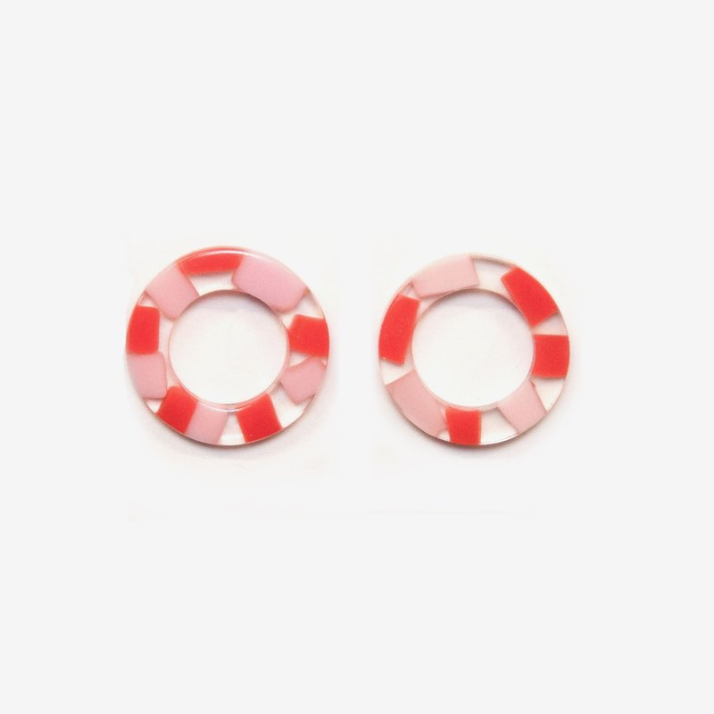 Modern Translucent Circle Earrings - Raspberry, Post Earrings, Clip on Earrings