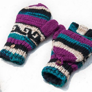Hand-knitted pure wool knit gloves / detachable gloves / inner bristled gloves / warm gloves - South American bright colors