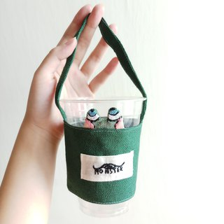 Handmade Mr. Sticky green drink carrier bag