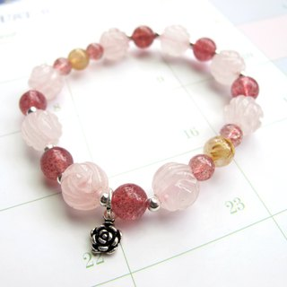 [Accompanying Rose] Powder Crystal (Flower Shape) x Strawberry Crystal x Titanium Crystal x 925 Silver - Handmade Natural Stone Series