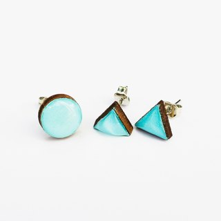 Tiny geometric triangle and circular wood earrings - powder blue