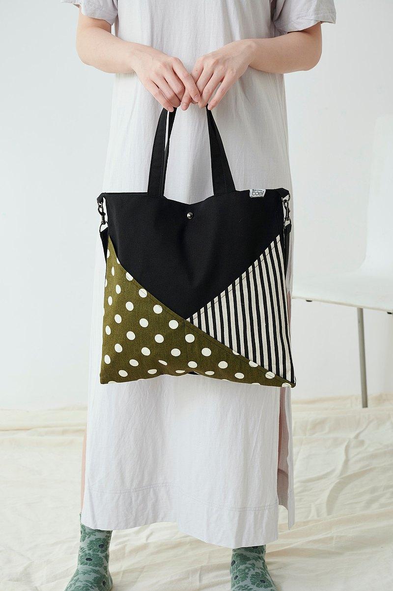 BUboei Y型袋側背手提兩用托特包 - 綠色波波拼黑直間