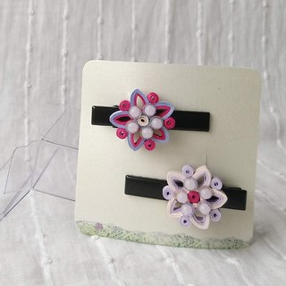 Two-color scroll small flower hairpin pair
