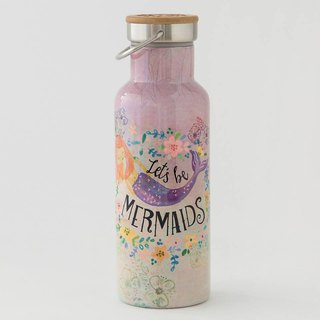 Stainless steel wide mouth insulation / cold water bottle 18oz- Let's Be Mermaids∣WB042