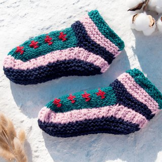 Hand-knitted pure wool knit socks / inner brushed striped socks / wool crochet socks / warm wool socks - blueberry jam