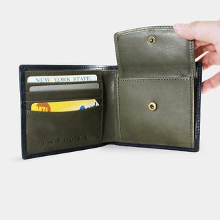 Influxx Montage Leather Bi-fold Compact Wallet with Coin Pouch - Dark Olive Green