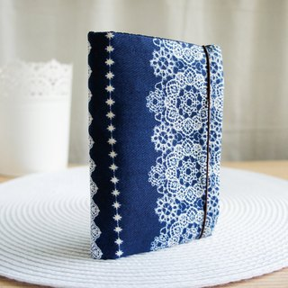 Lovely Japanese cloth, tannin wind lace passport holder, book cover 9.5X14cm denim blue (random shipment)