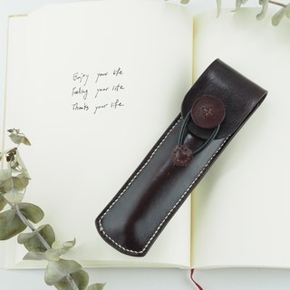 Leather pen set buckle rope single pen coffee red