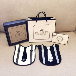 PUREST small gentleman bib gift box group / tie models / baby newborn moon / birthday / gift preferred