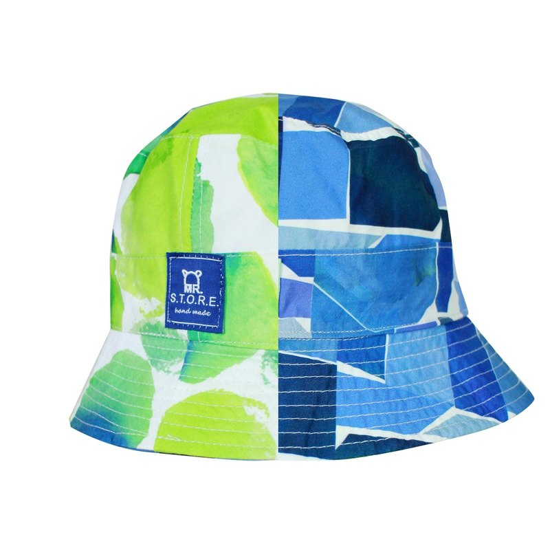 MR.STORE Handmade Green Dot And Blue Checked  Double Size Bucket Hat