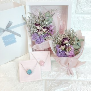Goody Bags Dry Flower Box Sets  Pink Crystal Aquamarine Necklace Birthday