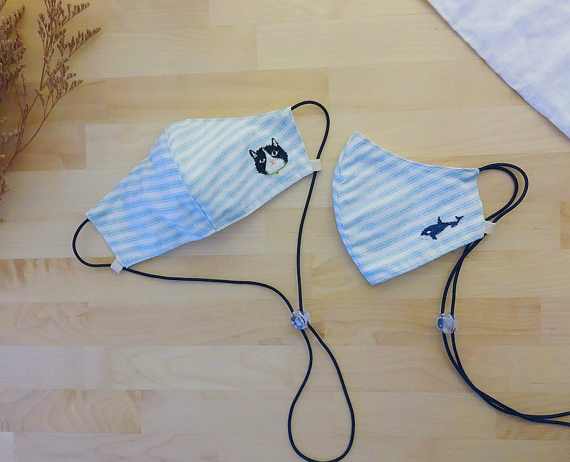 3d MASK:Cat/Whale-Embroidery~adjustable string