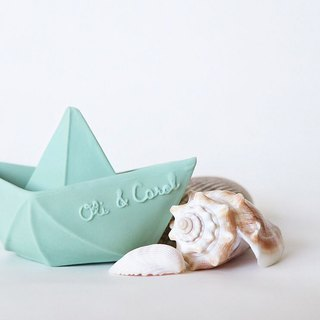 Spain Oli & Carol – Origami Boat - Pink Green - Natural Rubber Stud / Bath Toy