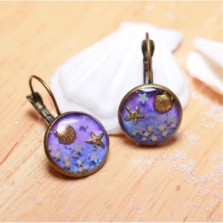 Ocean and Sea in Purple Earring with Tiny Star sand Star Glitter Your Bright Day