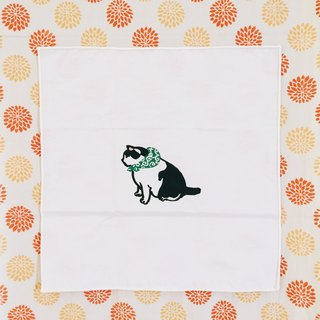 Limited amount of mud stick cat handmade silk handkerchief / small square