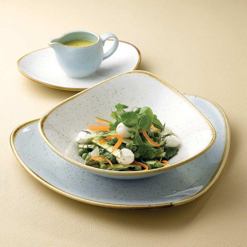 STONECAST點藏系列蛋青色-三角18cm餐碗/餐盤