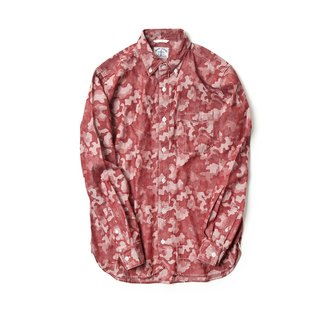 Yarn Dyed Red Camouflage Long Sleeve Worker Shirt
