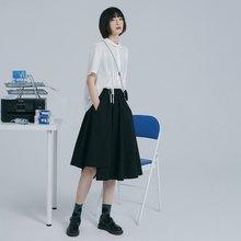 5022b38eb96b1 Japanese irregular stitching elastic skirt - black | skirt | summer |  cotton | Sora-