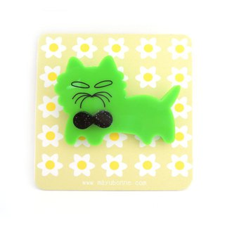 fluffy cat acrylic pin