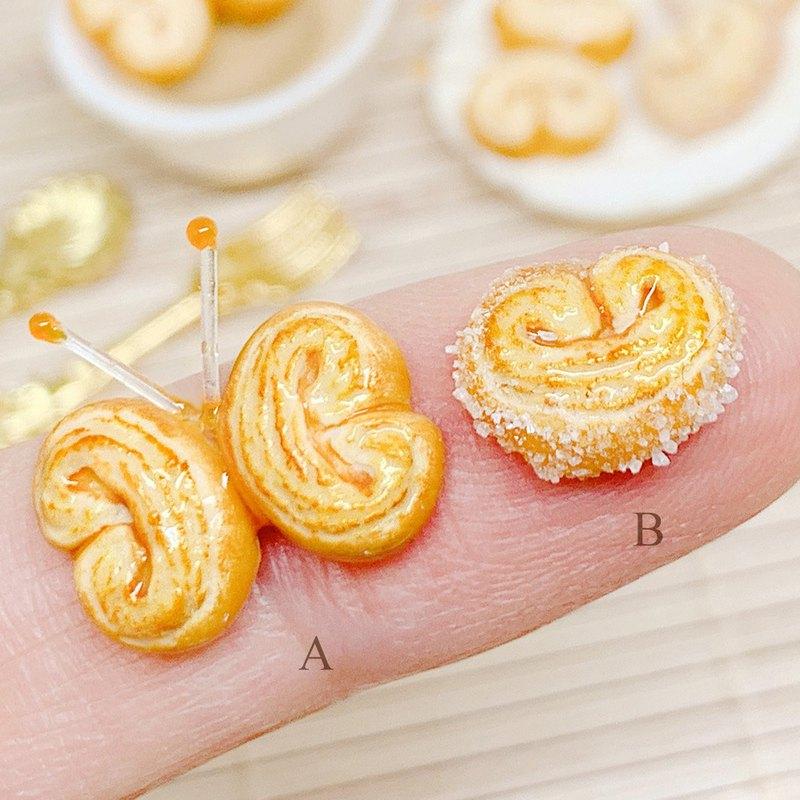 【微距食界】手作 蝴蝶酥 蝴蝶派 餅乾 耳環(單一隻耳朵耳環)