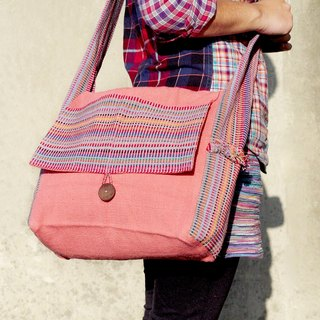 Natural hand-woven colorful rainbow canvas bag / backpack / shoulder bag / shoulder bag - pink natural feel colorful stripes (limit one)