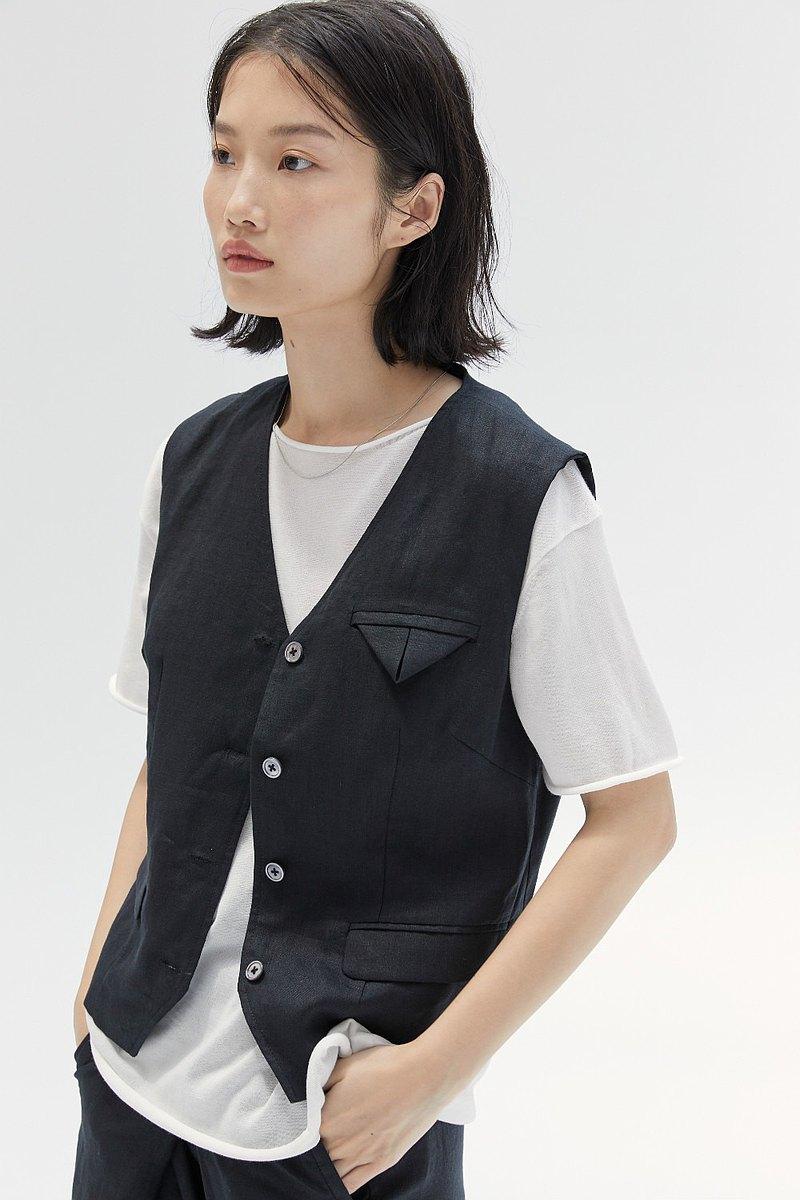 黑色 兩色 亞麻製 短款V領開襟馬甲 酷感中性無袖 單排扣口袋馬夾