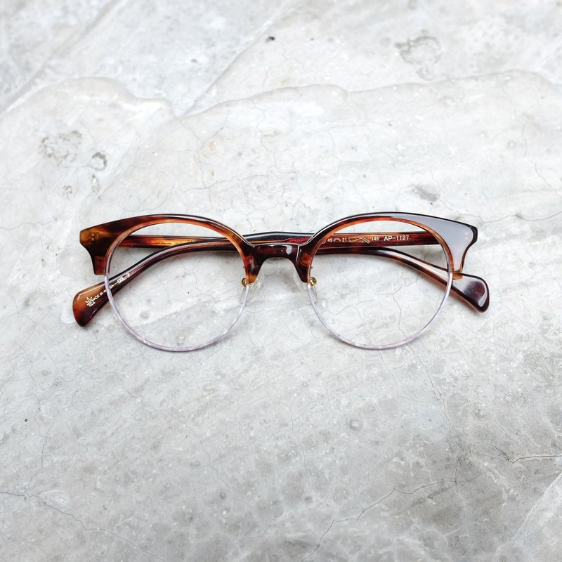 [Head of the line] South Korea new eyebrow box round shallow tortoiseshell purple pattern large frame glasses frame