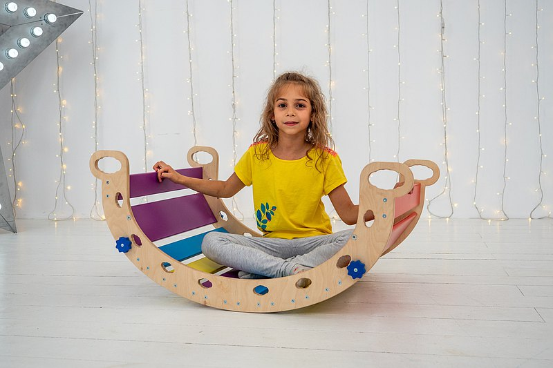 Balancing board Toddler climbing toy Rainbow color