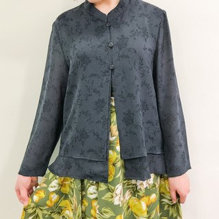 …{DOTTORI :: TOP}Dark Grey Long Sleeved with Banded Collar