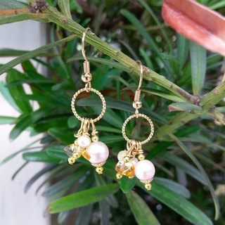Golden Semiprecious Stone Earrings with Orange Calcite, Citrine, Pearl