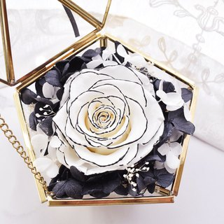 Black and white diamond glass treasure box without withering flowers / eternal flower / rose / marriage proposal / Valentine's Day / anniversary