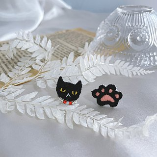 Handmade embroidery // Cat Lady's Embroidered Earrings for Black Cat /// Can be clipped