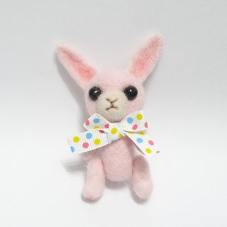 Movable Pink Rabbit - Wool felt  (key ring or Decoration)