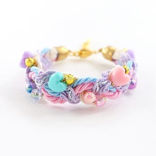 Pink / Blue / Purple heart bead braided bracelet