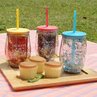 [DESTINO STYLE] Japan double-layer curved straw cup drink cup company goods