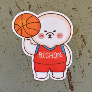 Bichon Basketball Small Waterproof Sticker SS113